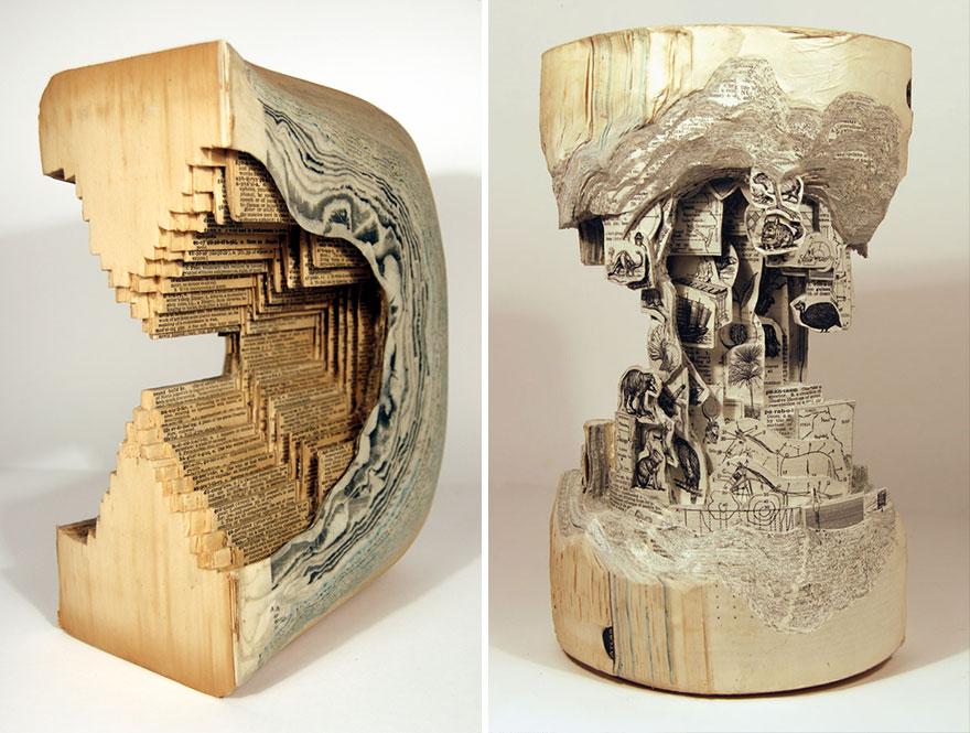 Con el arte de la cirugía, Brian Dettmer´s transforma libros en esculturas