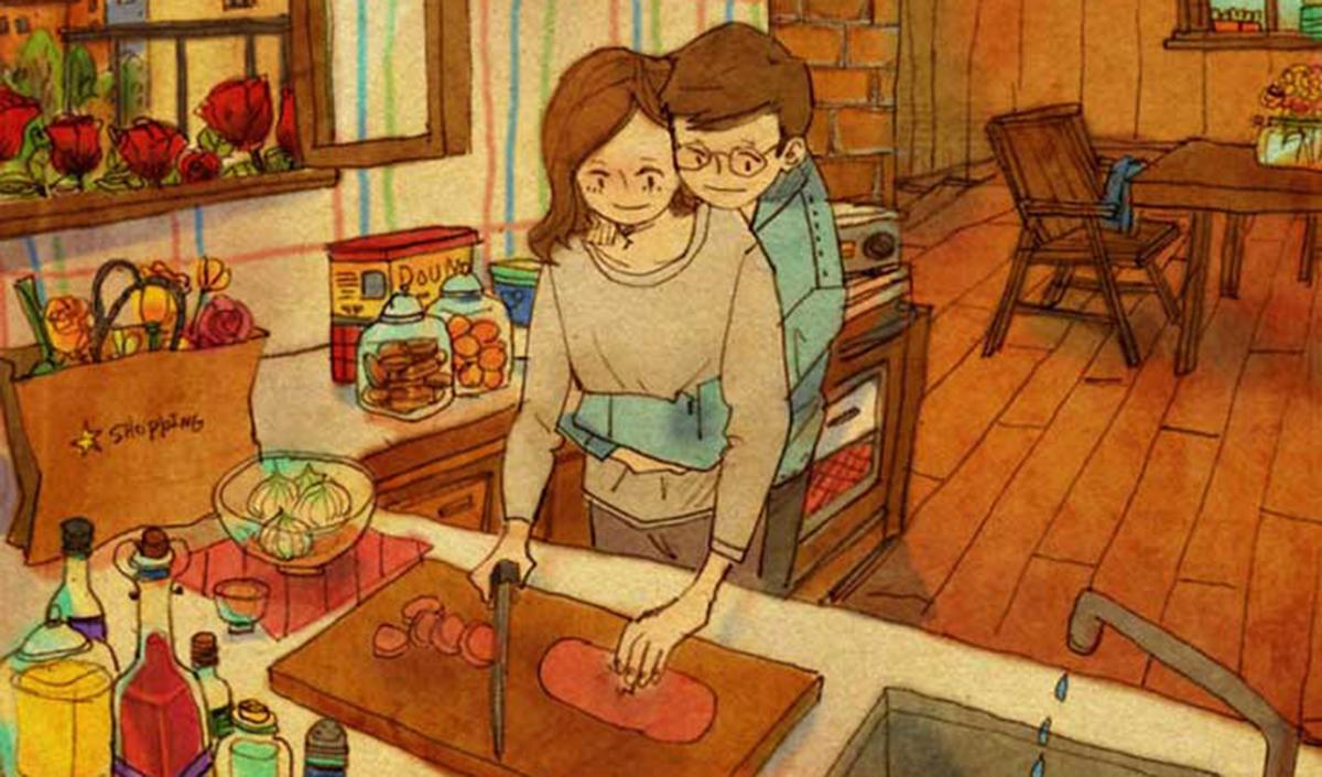 Ilustraciones  que retratan los pequeños detalles en los que se encuentra el amor día a día