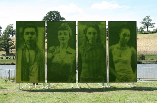 Artistas  crean retratos de pasto a partir del proceso de fotosintesis