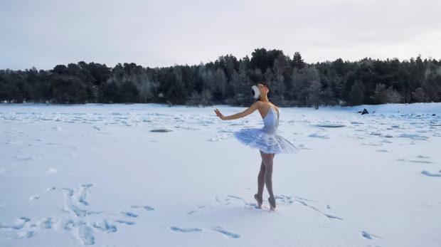 Bailarina bailó el Lago de los cisnes sobre lago congelado para salvar a cisnes del golfo de Finlandia